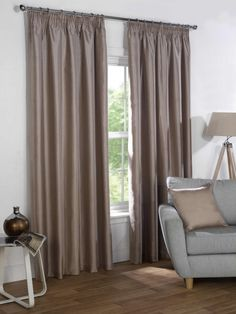 Sophia Ready Made Faux Silk Blackout Curtains - Taupe