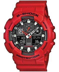 Casio G-SHOCK Horloge GA-100B-4AER. Dit horloge is uitgevoerd met analoge en digitale tijdsaanduiding.  Het horloge heeft een kunststof rode kast en rode kunststof horlogeband, sterk mineraalglas en dag-, maand- en tijdsaanduiding.  Auto LED-lampje.