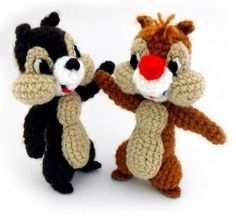 Crochet Amigurumi Animal Ahhhhh, Chip and Dale: free crochet pattern - Cute Crochet, Crochet Crafts, Yarn Crafts, Crochet Projects, Knit Crochet, Ravelry Crochet, Ravelry Free, Crochet Amigurumi, Amigurumi Patterns