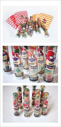 Tubos Golosieros Personalizados. Temática:  Mini Spiderman #tubos #golosinas #candybar #minirocklets #pastillas #party #souvenir