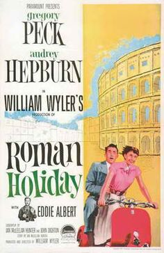 Roman Holiday is an amazing Audrey Hepburn and Gregory Peck film!  It's a cute Old Hollywood romantic comedy, directed by William Wyler!  Check out Audrey Hepburn's top 10 films of all time! I love this old vintage movie poster! thatretrocircus.wordpress.com