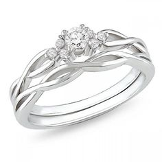 Affordable diamond infinity wedding ring set in 10k white gold - JewelOcean.com.  I want this ring!!! Potential Wedding Ring!