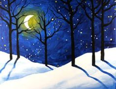 29 Ideas Winter Art Painting Scene Canvases For 2019 Winter Scenes To Paint, Winter Scene Paintings, Easy Paintings, Mini Paintings, Painting Snow, Winter Painting, Winter Art, Winter Trees, Rock Painting