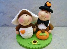 Pilgrim Pair - Polymer Clay - Thanksgiving - Fall - Autumn - Figurine
