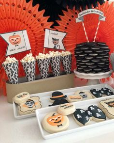 Hipster Halloween party cookies!  See more party planning ideas at CatchMyParty.com!