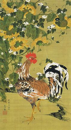 Rooster amid sunflowers and morning glories.  伊藤若冲 Itō Jakuchū. Japanese hanging scroll. Eighteenth century.