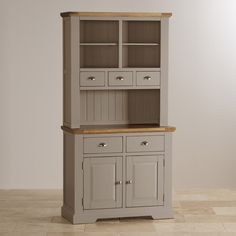 St Ives painted acacia small dresser with natural oak top. Soft, light grey paint finish. Part of large dressing set. Free delivery. Buy online.