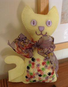 Yellow Felt Cat Felt Cat  Cat Lovers Gift by BlueShedCrafts