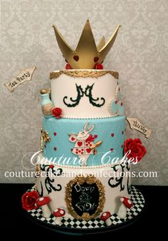 Alice In Wonderland Cake - great color combo Mad Hatter Cake, Mad Hatter Party, Mad Hatter Tea, Alice In Wonderland Birthday, Alice In Wonderland Tea Party, Pretty Cakes, Cute Cakes, Bolo Fake Eva, Decors Pate A Sucre