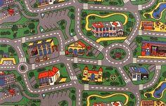 Le tapis de jeu chez les P'tits Louis, où les routes et les places de parking étaient disproportionnées aux voitures...