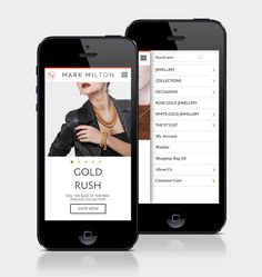 Mobile website designed by ico for jewellery brand Mark Milton.