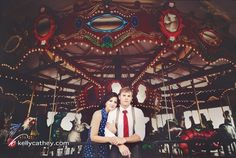 Vintage Carousel Engagement photography by viola