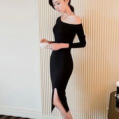 Women's Sexy / Party Solid Bodycon Dress , Off Shoulder Midi Others / Cotton Blends 2016 - $21.59