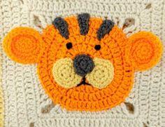 Crochet Lion Bear Tiger Granny Square Blanket Free Pattern