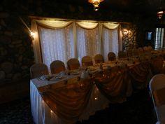 Wedding head table and  Wedding backdrop decor by Tarabrook Events