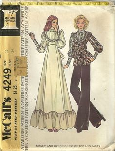 3619bafc4e258 1970s Edwardian style influence gown and Evening Pants suit Vintage Dress  Patterns, Clothing Patterns,
