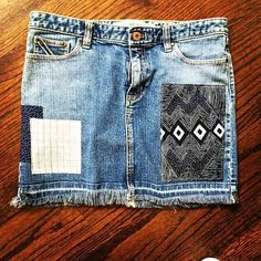 Gap Aztec Remixed Patchwork Denim Skirt in size 10 by Rhapsody Reinventions- upcycled women's jean skirt Hawaii Style, California Style, Jean Skirt, Denim Skirt, Patched Jeans, Boho Chic, Bohemian, Denim Patchwork, Cute Jeans