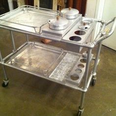 An amazing vintage aluminum refreshment cart with all it's accessories...very fun!