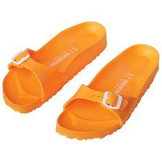 Birkenstock Madrid EVA Sandals ($30) ❤ liked on Polyvore featuring shoes, sandals, orange, platform sandals, strap sandals, flat platform shoes, orange sandals and strappy platform sandals