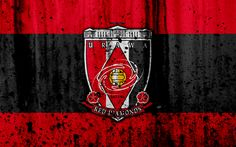 Download wallpapers FC Urawa Red Diamonds, 4k, logo, J-League, stone texture, Japan, Urawa Red Diamonds, soccer, football club, Urawa Red Diamonds FC