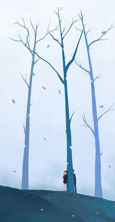 Ideas For Wallpaper Iphone Winter Cute Wallpaper Animes, Cartoon Wallpaper, Wallpaper Backgrounds, Couple Illustration, Illustration Art, Aesthetic Art, Aesthetic Anime, Stock Design, Cover Wattpad