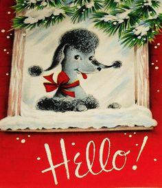 Vintage Poodle Christmas Card posted by Redlandspoodles.com