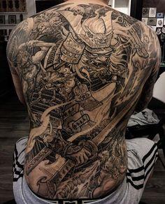 Tattoo by @tonyhu_chronicink Cloud Tattoo Sleeve, Sleeve Tattoos, Samurai Back Tattoo, Warrior Tattoos, Badass Tattoos, Life Tattoos, Body Art Tattoos, Japan Tattoo Design, Back Tattoos
