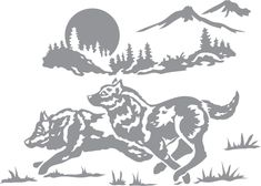 Glass etching stencil of Wolf Running through Mountain Landscape. In category: Animals, Trees, Wolf