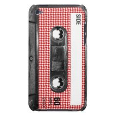 Red and White Houndstooth Label Cassette Barely There iPod Covers