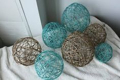 Yarn Balls...love this idea!!  Love the airiness of the balls.