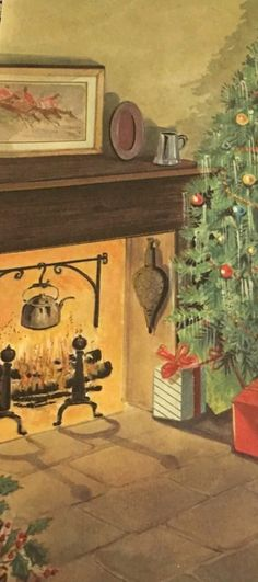 Roasted Chestnuts, Christmas Fireplace, Painting, Art, Art Background, Painting Art, Kunst, Paintings, Performing Arts