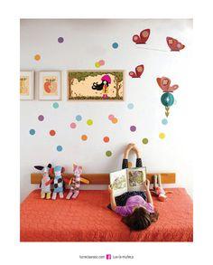 CUADRO LUX OTOÑO Lux la Muñeca. Lámina ilustrada enmarcada en madera. #ilustracion #illustration #pink #muñeca #deco #kids Facebook: lux la muñeca Ventas : tienda.citarte.net