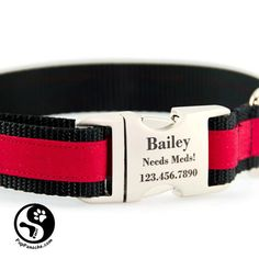 Sports Stripe Personalized Dog Collar Laser Engraved by PupPanache