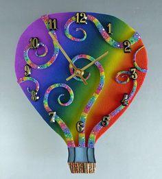 Rainbow Balloon Clock or Wall Art Sculpture in Polymer Clay