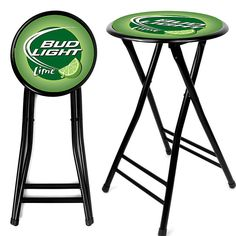 Trademark Commerce AB2400-BLLIME Bud Light Lime 24 Inch Cushioned Folding Stool - Black