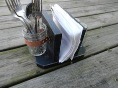 SALE Primitive Rustic Napkin Holder/Desk Organizer/Table Organizer includes a Salt and Pepper Shaker & Jar-Black. $25.00, via Etsy.