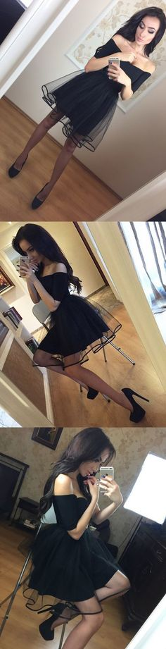 Fashion A-Line Off-The-Shoulder Black Short Homecoming Dress With Tulle,80416 by Dress Storm, $89.00 USD