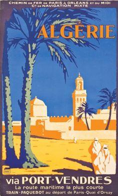 """By Marc P.O. Midi Cie de Navigation Mixte, 1931, Algérie via Port Vendres """"La route maritime la plus courte""""."""