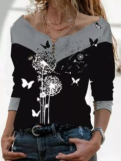 Shirt Bluse, Casual T Shirts, Fashion Prints, Types Of Sleeves, Printed Cotton, Long Sleeve Tops, Blouse, Arm, Clothes