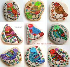 Painted stones - birds