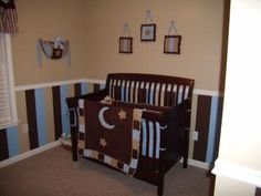 CHOCOLATE BROWN and BLUE WALL NURSERY PAINTED STRIPES STRIPED WALL PAINTING TECHNIQUE: My beautiful brown and blue baby boy's nursery is everything that we wanted for our son's first room. I've always loved the colors blue and brown together