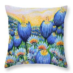 """Blue Belles 14"""" x 14"""" Throw Pillow by Holly Carmichael.  Multiple sizes available."""