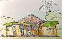 CASA DA GESTAÇÃO/ PIRACANGA - O projeto ecológico da Casa de Gestação foi pensado de forma a utilizar os recursos mais sustentáveis e locais do litoral Sul da Bahia, onde está localizada