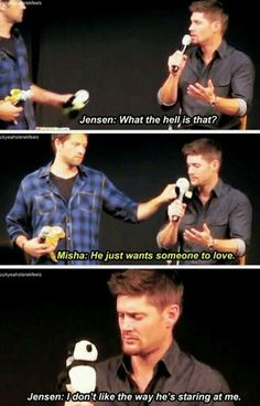 Haha Jensen Ackles and Misha Collins. Really need to watch Supernatural Misha Collins, Dean Winchester, Winchester Brothers, Jensen Ackles, Supernatural Bloopers, Supernatural Destiel, Supernatural Wallpaper, Supernatural Tattoo, Supernatural Imagines