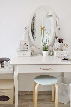 At home with. Vanity Makeup Rooms, Makeup Room Decor, Vanity Decor, Small Bedroom Vanity, House Beds For Kids, Kids Bedroom Designs, Desk Inspiration, Small Apartment Decorating, Beauty Room