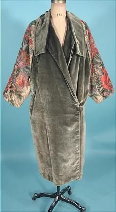 c. 1920's Liberty & Company, London & Paris velvet coat with floral printed sleeves.