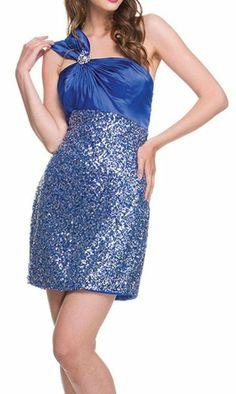 Short Sequin Cocktail Dress Royal Blue One Shoulder Satin Top $117.99