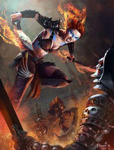 Hugh Pindur | Flame-haired barbarian gladiatrix