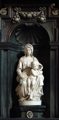 Madonna of Bruges  --  1501-1504  --  (Michelangelo di Lodovico Buonarroti Simoni) (1475 – 1564, Italian)  Church of Our Lady in Bruges, Belgium.