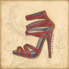 Glamorous Red Heel by Marrott, Stephanie Fashion Wall Art, Fashion Prints, Decoupage Shoes, Scrap, Walk In My Shoes, Red Art, Red Heels, High Heels, Painted Shoes